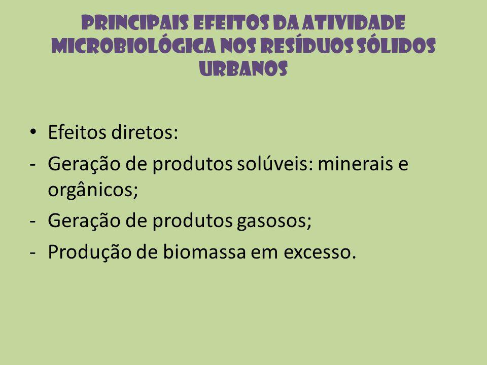 Geração de produtos solúveis: minerais e orgânicos;