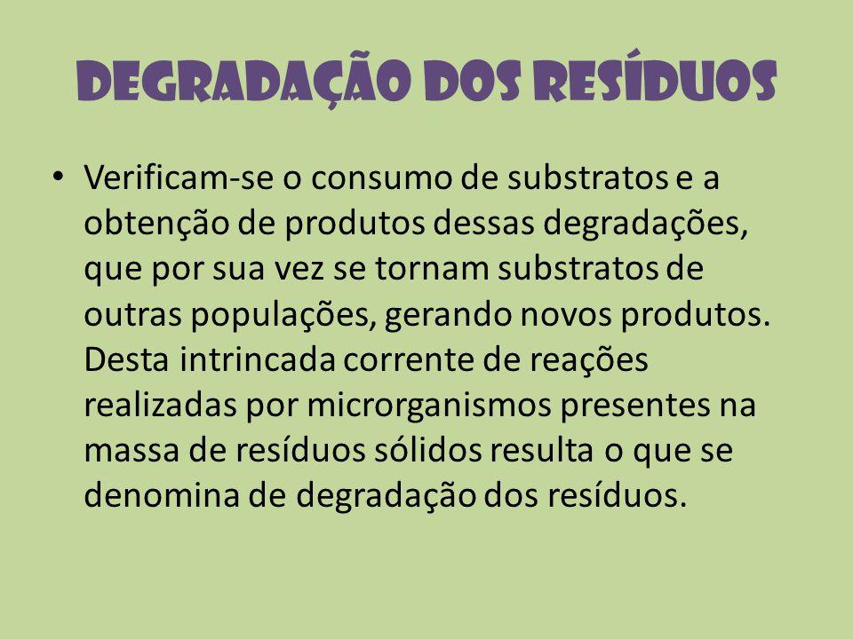 Degradação dos resíduos