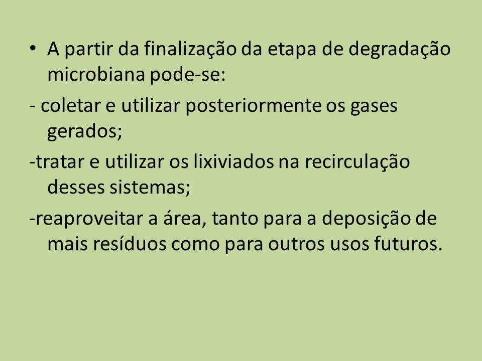A partir da finalização da etapa de degradação microbiana pode-se:
