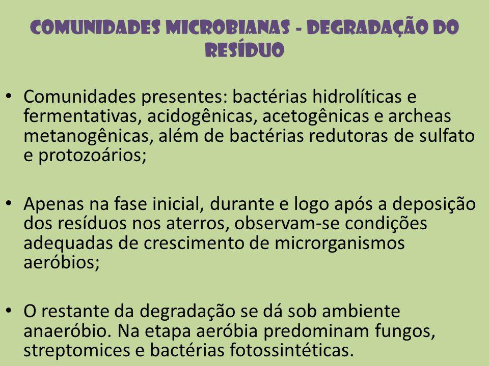 Comunidades microbianas - degradação do resíduo