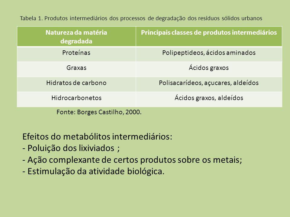 Principais classes de produtos intermediários