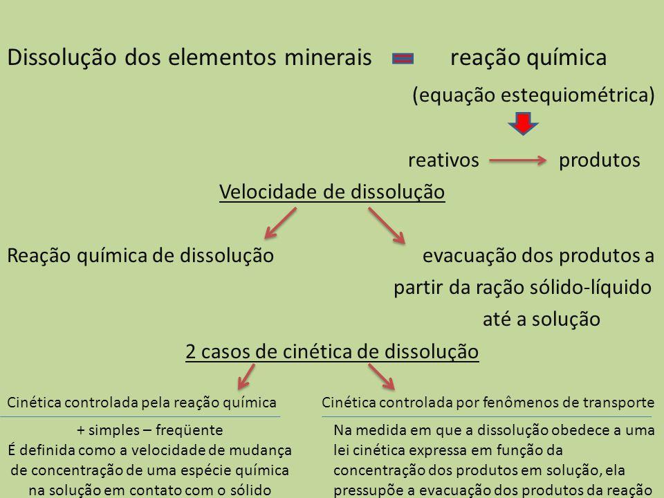 Dissolução dos elementos minerais reação química