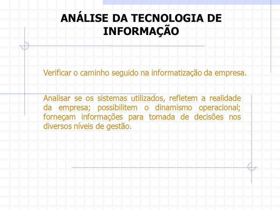 ANÁLISE DA TECNOLOGIA DE INFORMAÇÃO