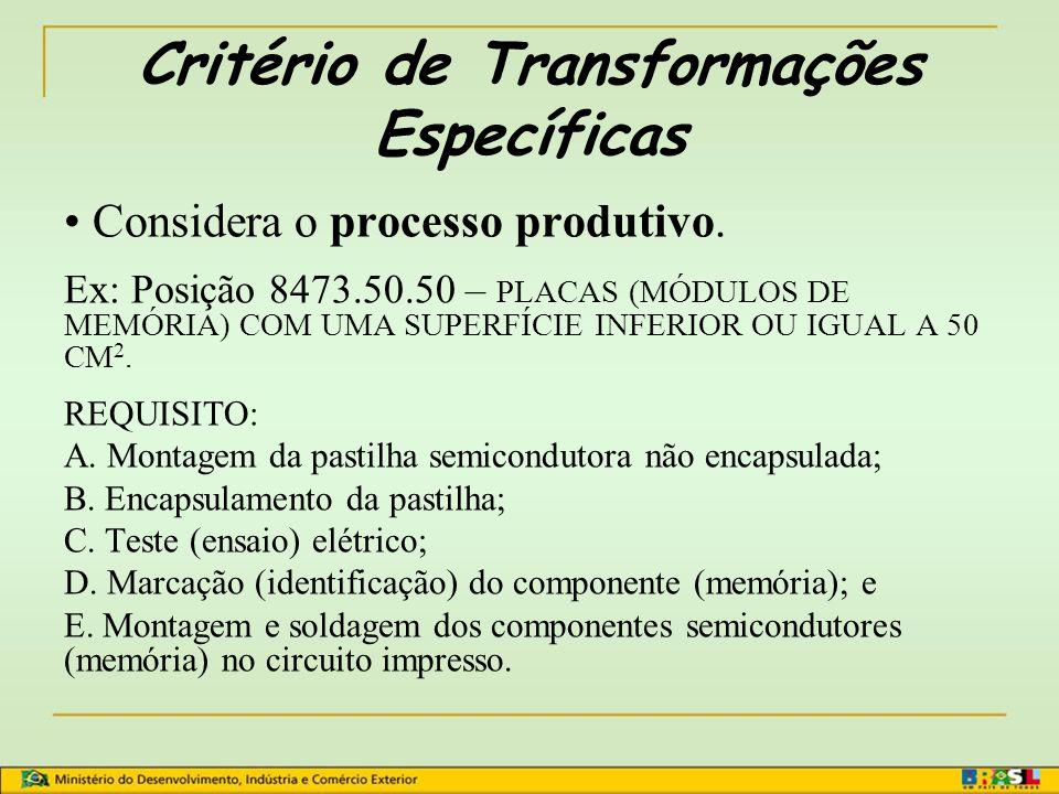 Critério de Transformações Específicas