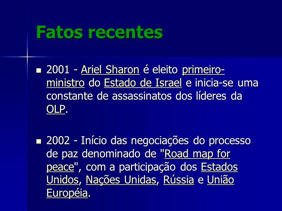 Fatos recentes 2001 - Ariel Sharon é eleito primeiro-ministro do Estado de Israel e inicia-se uma constante de assassinatos dos líderes da OLP.