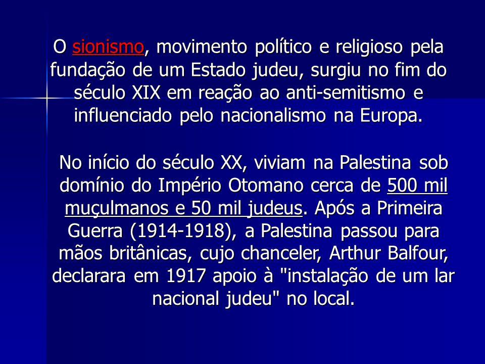 O sionismo, movimento político e religioso pela fundação de um Estado judeu, surgiu no fim do século XIX em reação ao anti-semitismo e influenciado pelo nacionalismo na Europa.