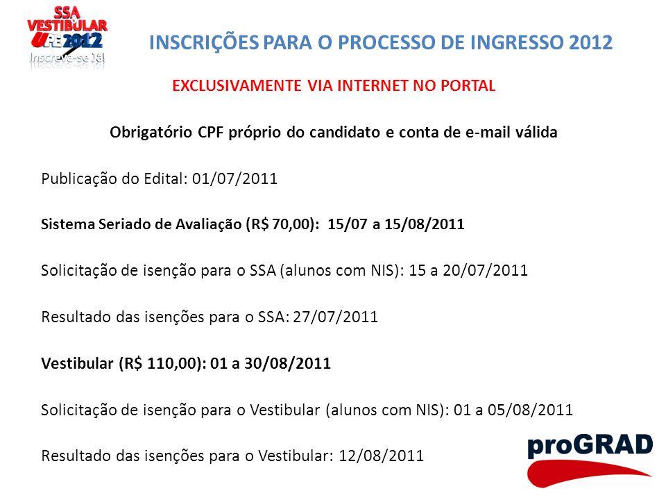 INSCRIÇÕES PARA O PROCESSO DE INGRESSO 2012