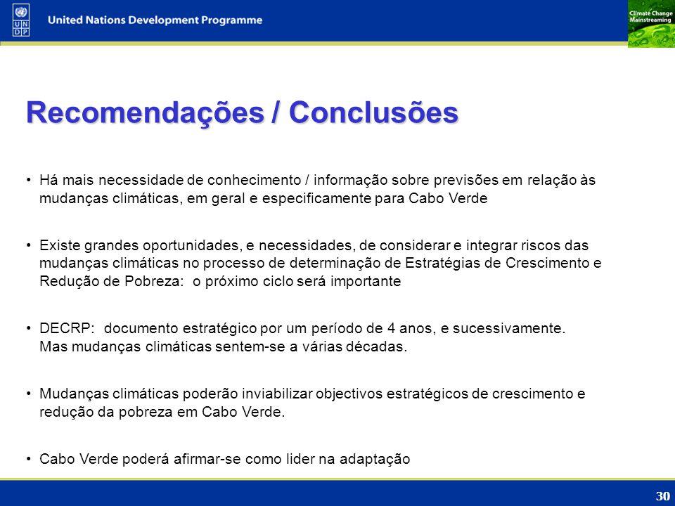 Recomendações / Conclusões