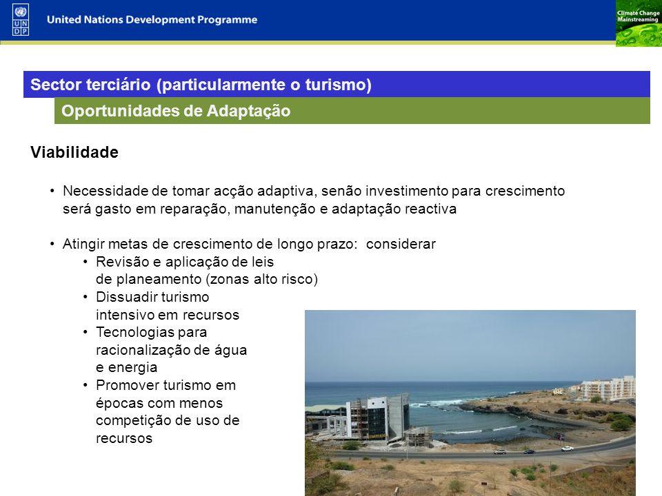 Sector terciário (particularmente o turismo)
