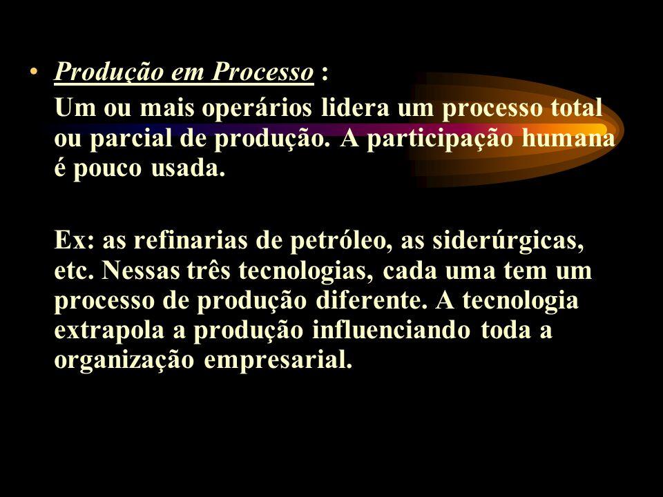 Produção em Processo : Um ou mais operários lidera um processo total ou parcial de produção. A participação humana é pouco usada.