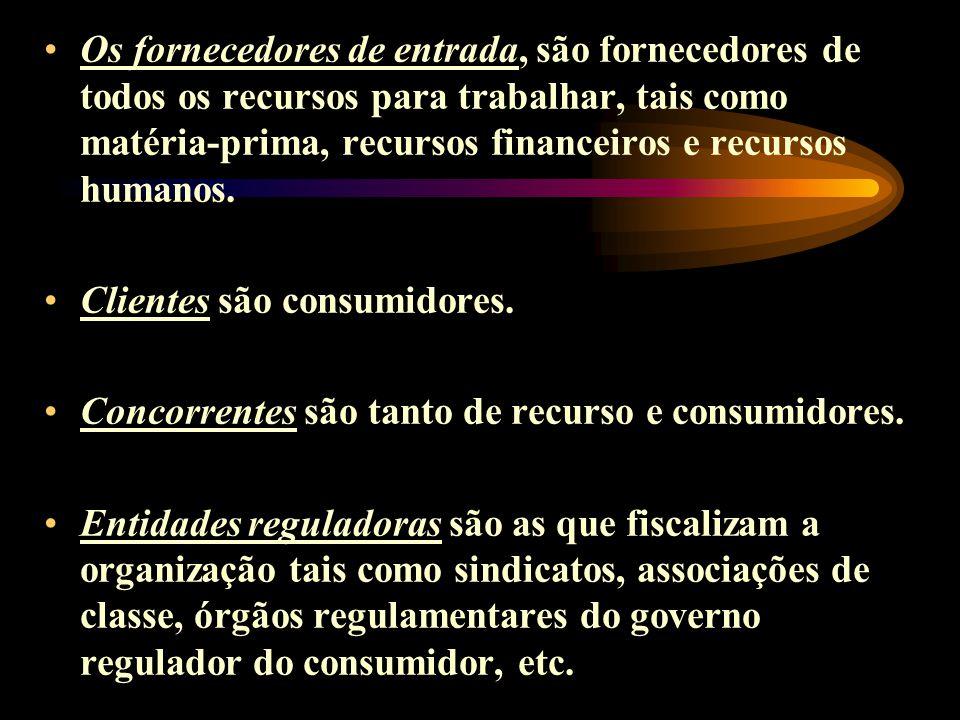 Os fornecedores de entrada, são fornecedores de todos os recursos para trabalhar, tais como matéria-prima, recursos financeiros e recursos humanos.