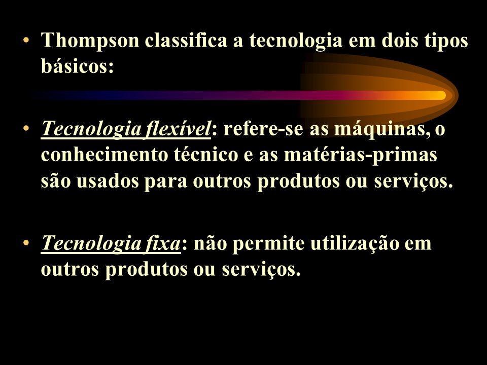 Thompson classifica a tecnologia em dois tipos básicos: