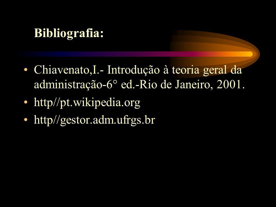 Bibliografia: Chiavenato,I.- Introdução à teoria geral da administração-6° ed.-Rio de Janeiro, 2001.