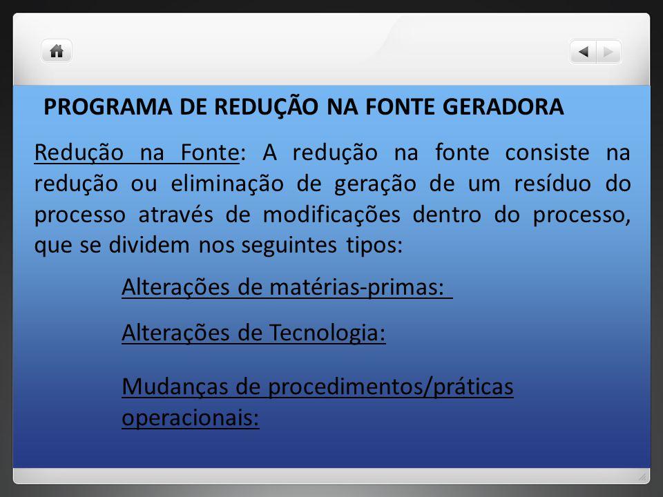 PROGRAMA DE REDUÇÃO NA FONTE GERADORA