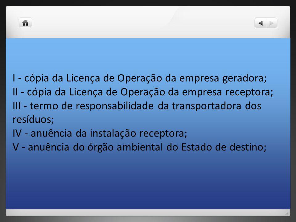 I - cópia da Licença de Operação da empresa geradora;