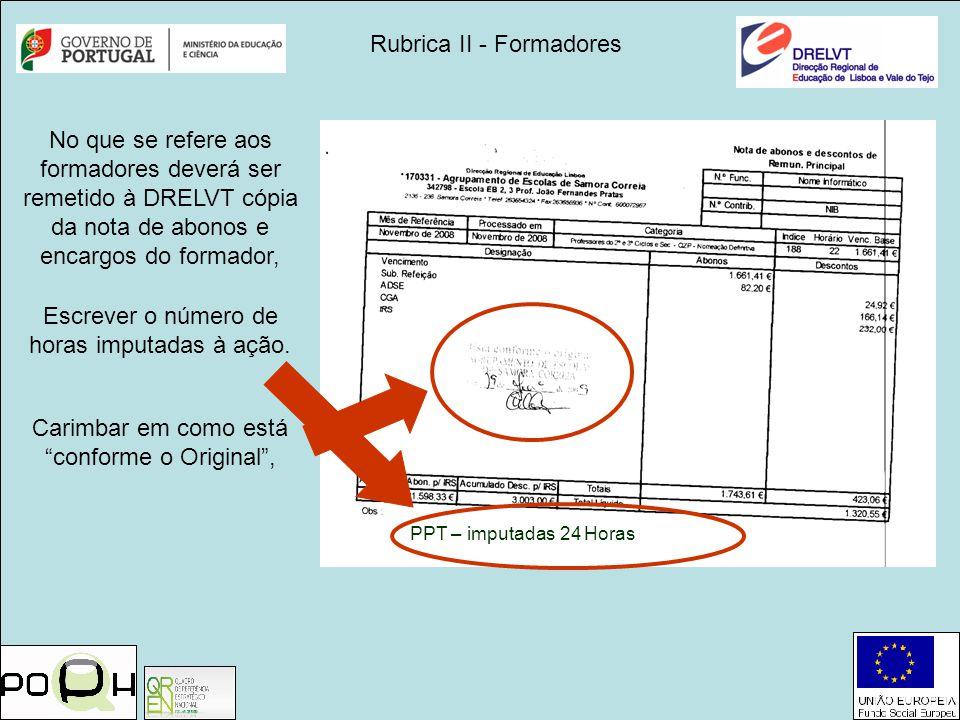 Rubrica II - Formadores