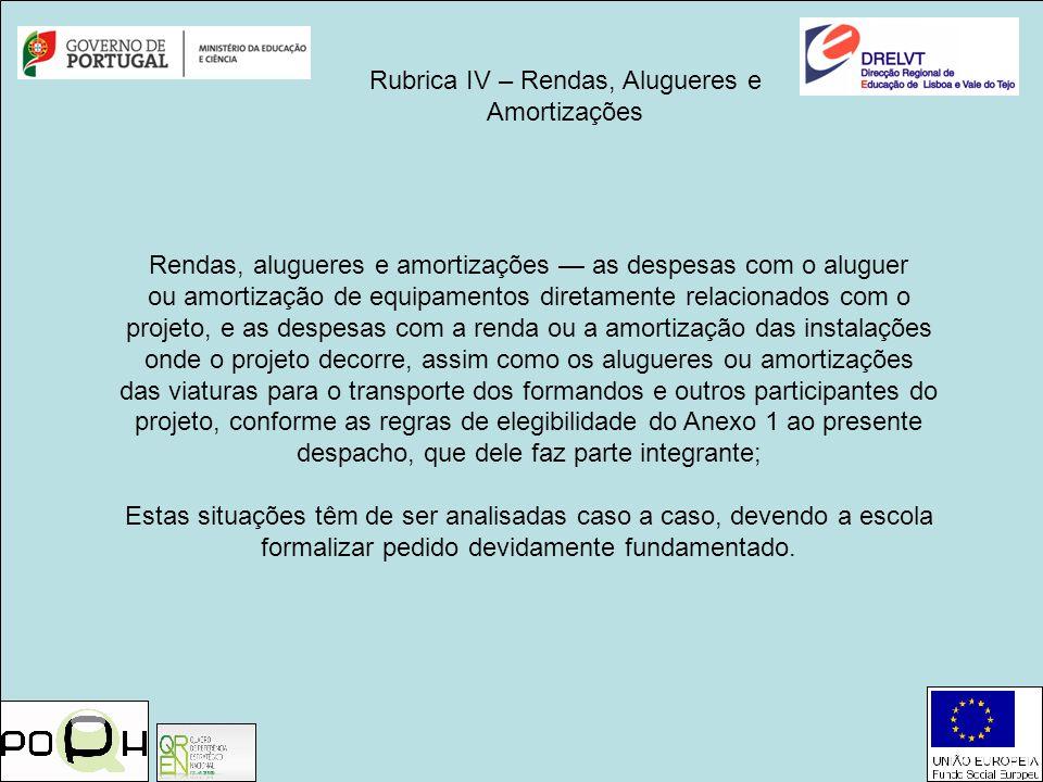 Rubrica IV – Rendas, Alugueres e Amortizações