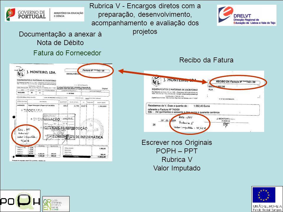 Documentação a anexar à Nota de Débito