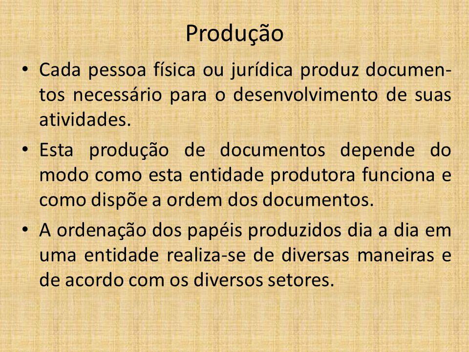 Produção Cada pessoa física ou jurídica produz documen-tos necessário para o desenvolvimento de suas atividades.