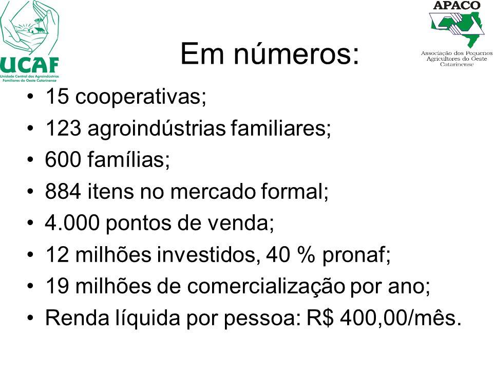 Em números: 15 cooperativas; 123 agroindústrias familiares;