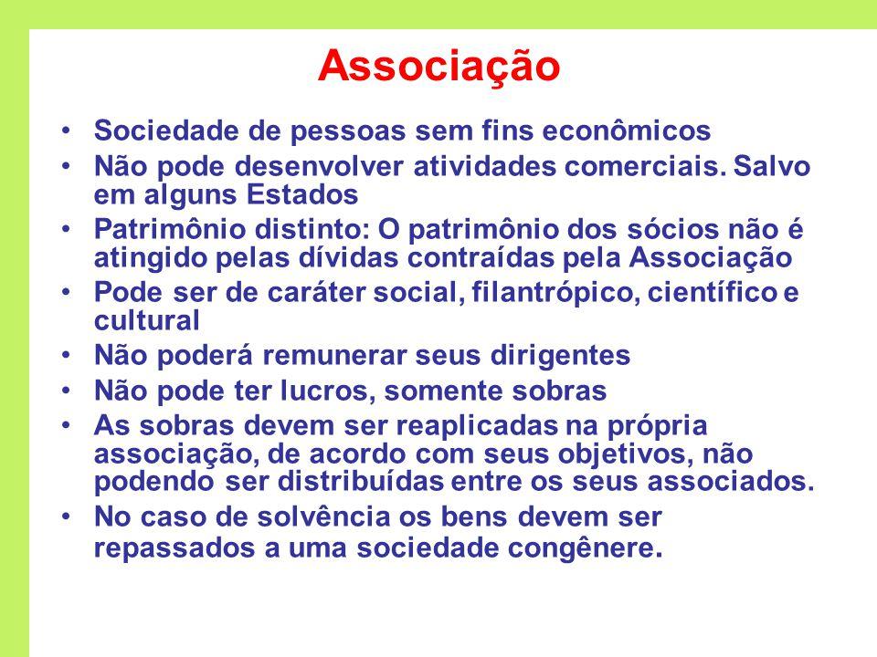 Associação Sociedade de pessoas sem fins econômicos