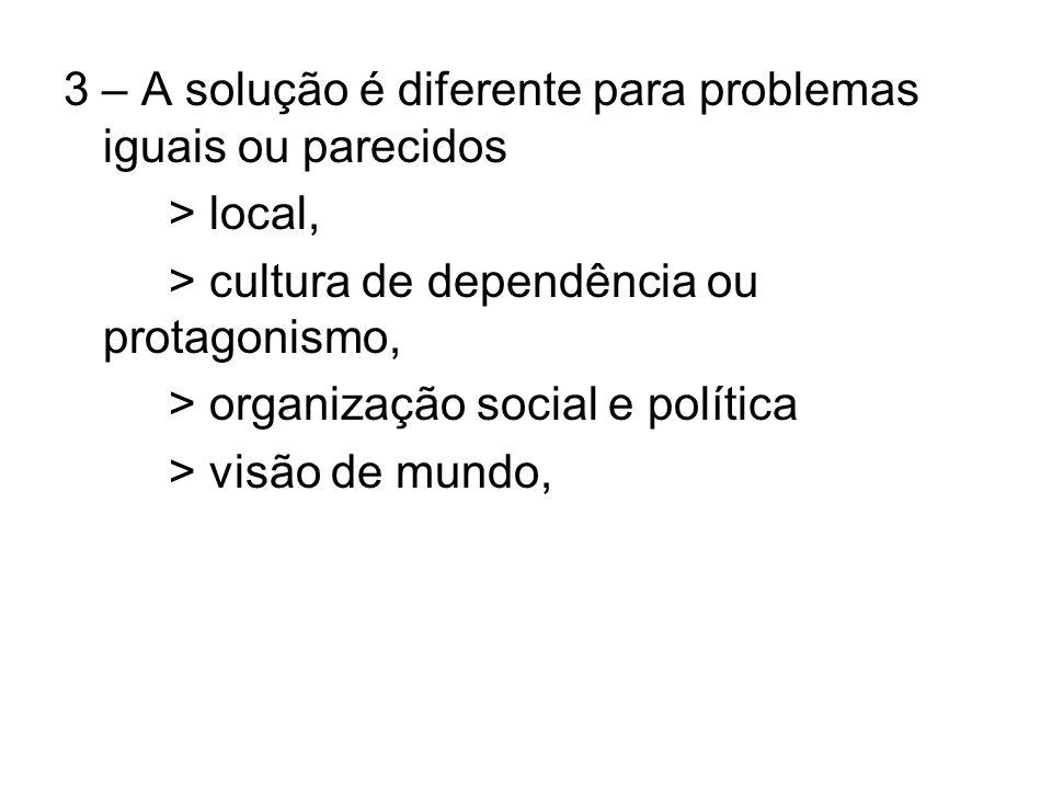 3 – A solução é diferente para problemas iguais ou parecidos