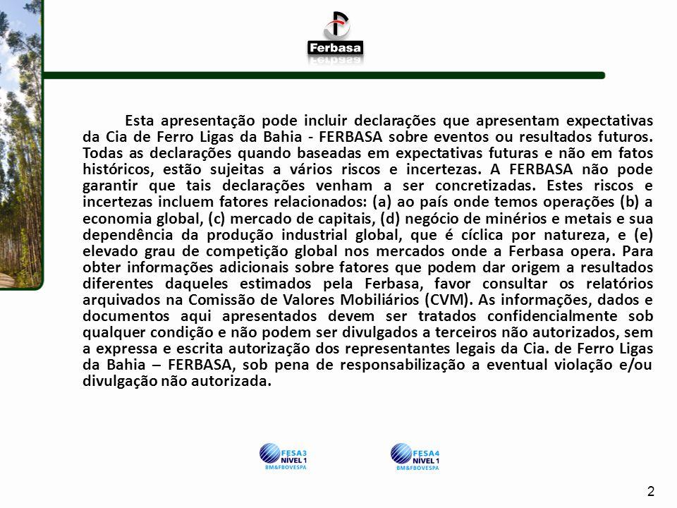 Esta apresentação pode incluir declarações que apresentam expectativas da Cia de Ferro Ligas da Bahia - FERBASA sobre eventos ou resultados futuros. Todas as declarações quando baseadas em expectativas futuras e não em fatos históricos, estão sujeitas a vários riscos e incertezas. A FERBASA não pode garantir que tais declarações venham a ser concretizadas. Estes riscos e incertezas incluem fatores relacionados: (a) ao país onde temos operações (b) a economia global, (c) mercado de capitais, (d) negócio de minérios e metais e sua dependência da produção industrial global, que é cíclica por natureza, e (e) elevado grau de competição global nos mercados onde a Ferbasa opera. Para obter informações adicionais sobre fatores que podem dar origem a resultados diferentes daqueles estimados pela Ferbasa, favor consultar os relatórios arquivados na Comissão de Valores Mobiliários (CVM). As informações, dados e documentos aqui apresentados devem ser tratados confidencialmente sob qualquer condição e não podem ser divulgados a terceiros não autorizados, sem a expressa e escrita autorização dos representantes legais da Cia. de Ferro Ligas da Bahia – FERBASA, sob pena de responsabilização a eventual violação e/ou divulgação não autorizada.