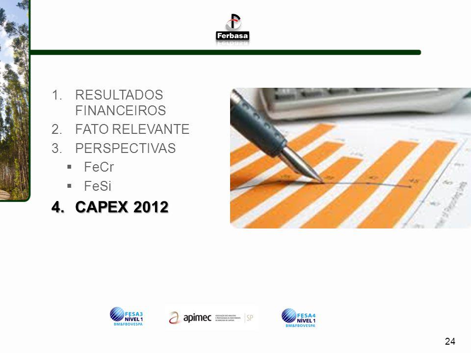 CAPEX 2012 RESULTADOS FINANCEIROS FATO RELEVANTE PERSPECTIVAS FeCr