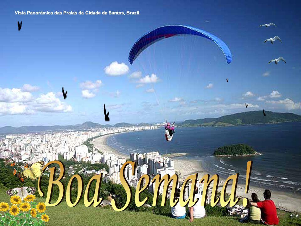 Vista Panorâmica das Praias da Cidade de Santos, Brazil.