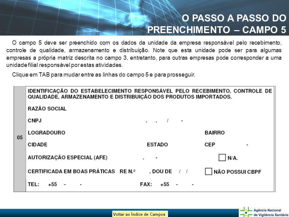 O PASSO A PASSO DO PREENCHIMENTO – CAMPO 5