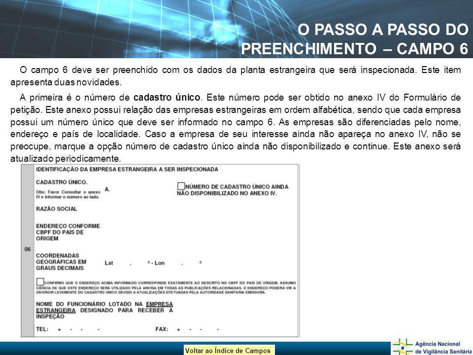 O PASSO A PASSO DO PREENCHIMENTO – CAMPO 6