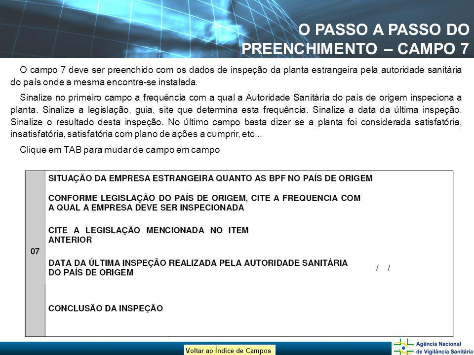 O PASSO A PASSO DO PREENCHIMENTO – CAMPO 7