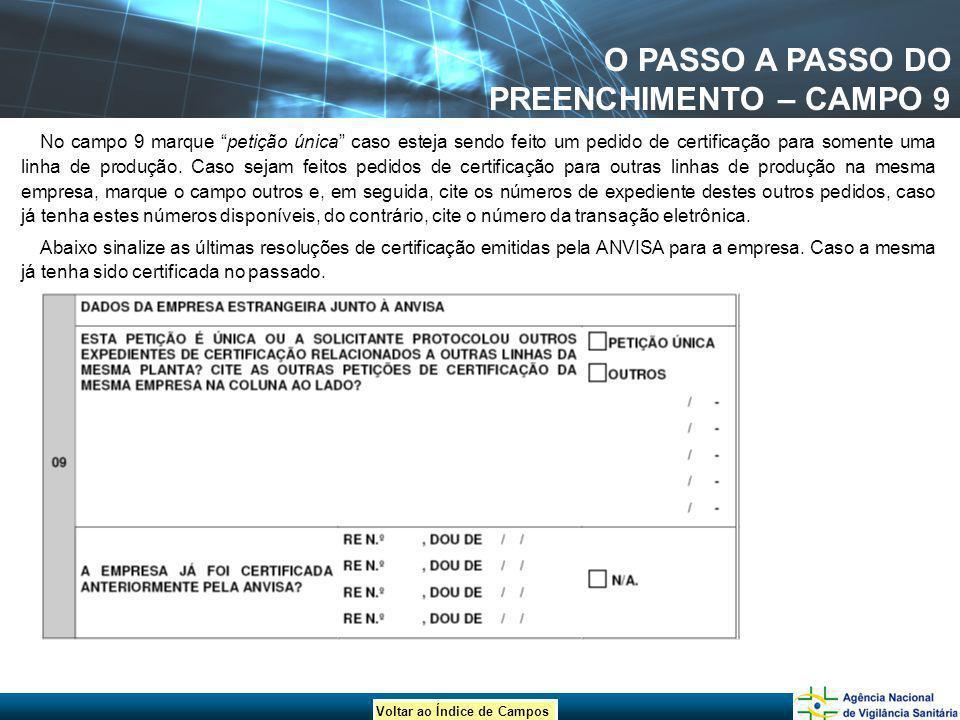 O PASSO A PASSO DO PREENCHIMENTO – CAMPO 9