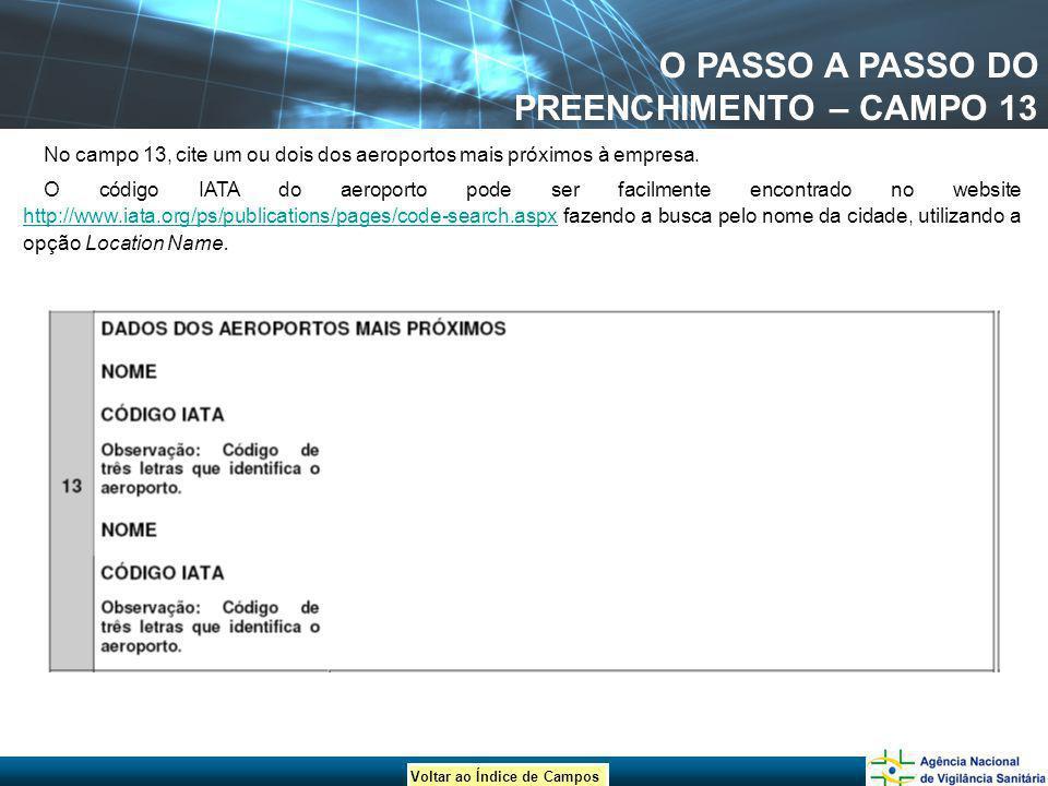 O PASSO A PASSO DO PREENCHIMENTO – CAMPO 13