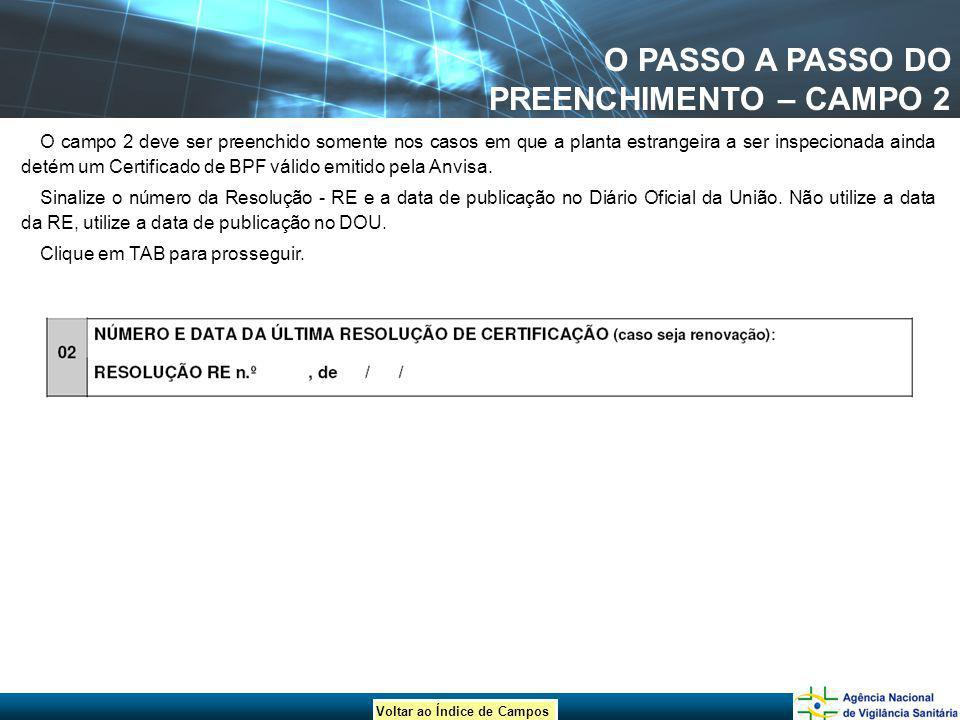 O PASSO A PASSO DO PREENCHIMENTO – CAMPO 2