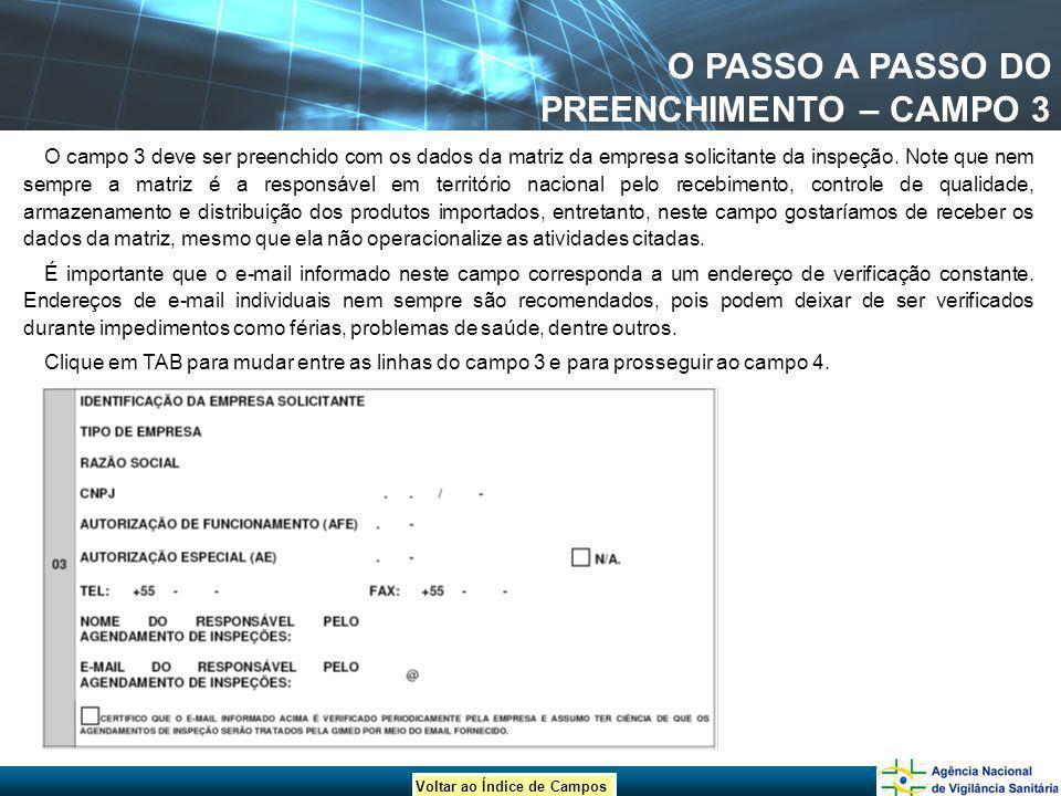 O PASSO A PASSO DO PREENCHIMENTO – CAMPO 3