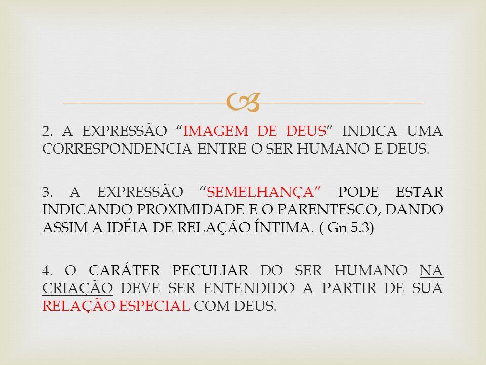 2. A EXPRESSÃO IMAGEM DE DEUS INDICA UMA CORRESPONDENCIA ENTRE O SER HUMANO E DEUS.