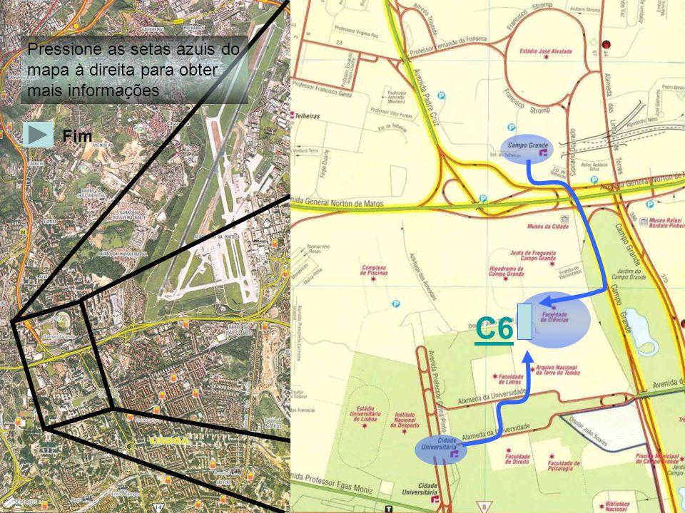 Pressione as setas azuis do mapa à direita para obter mais informações