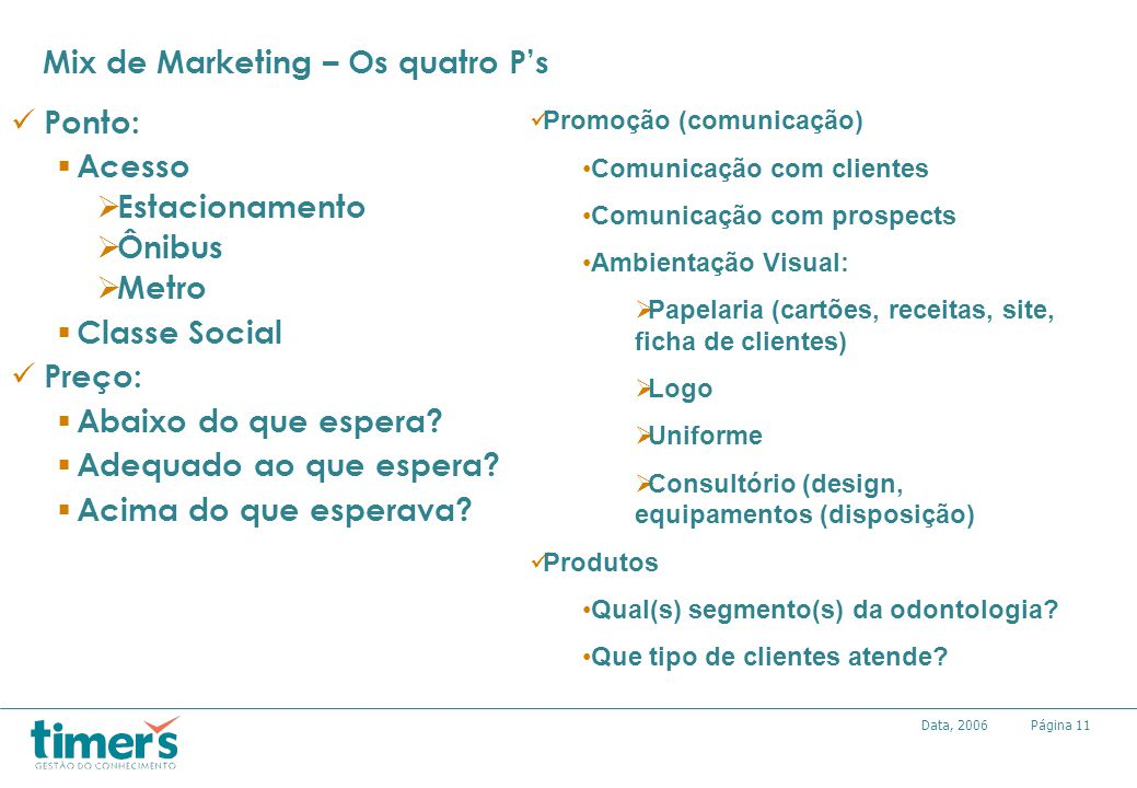 Mix de Marketing – Os quatro P's