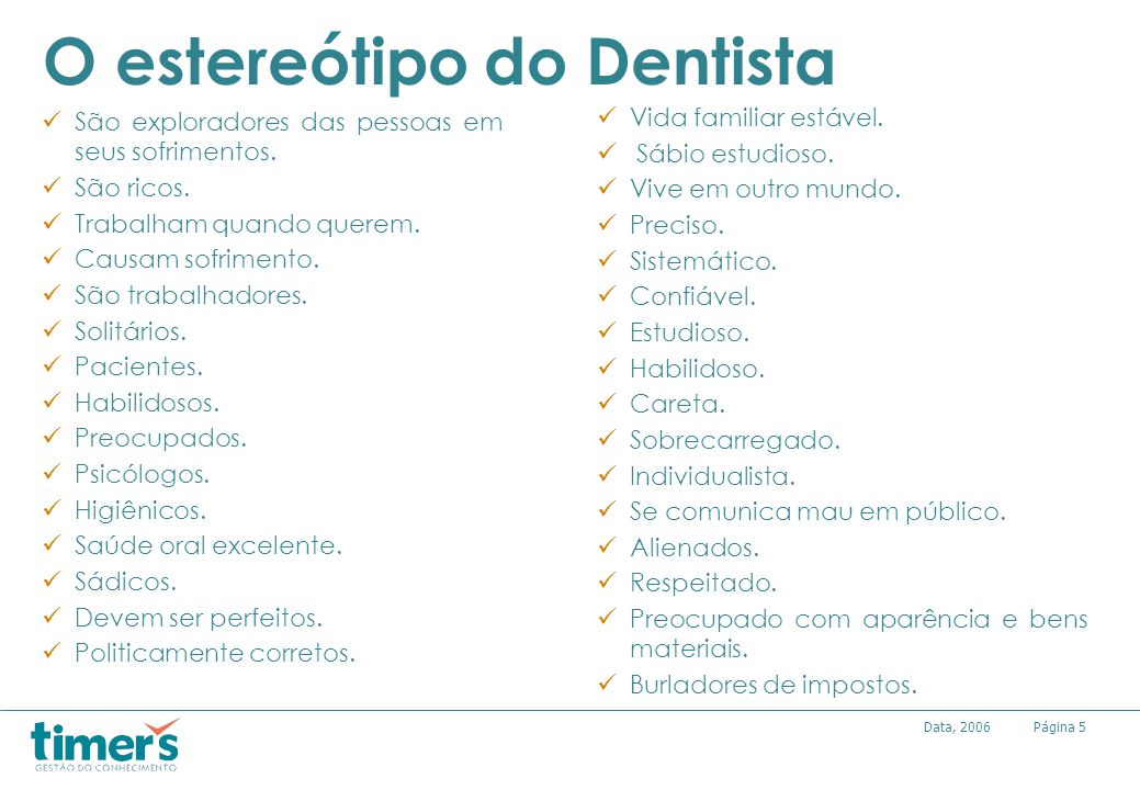 O estereótipo do Dentista