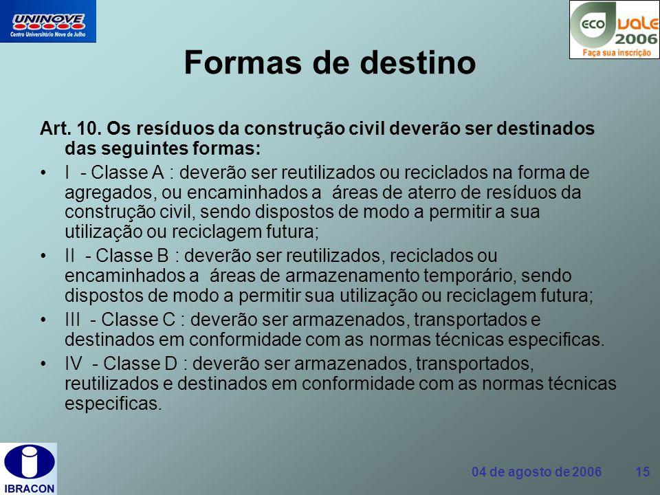 Formas de destino Art. 10. Os resíduos da construção civil deverão ser destinados das seguintes formas: