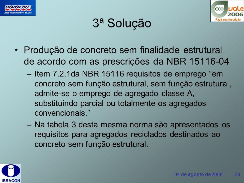 3ª Solução Produção de concreto sem finalidade estrutural de acordo com as prescrições da NBR 15116-04.