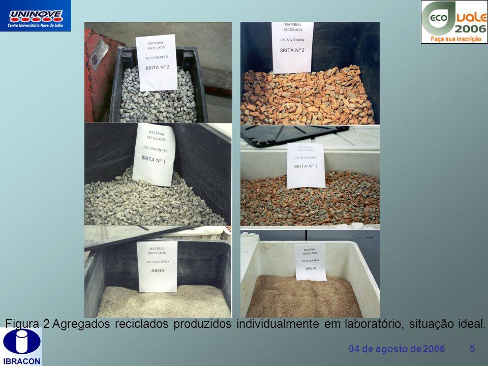 Figura 2 Agregados reciclados produzidos individualmente em laboratório, situação ideal.