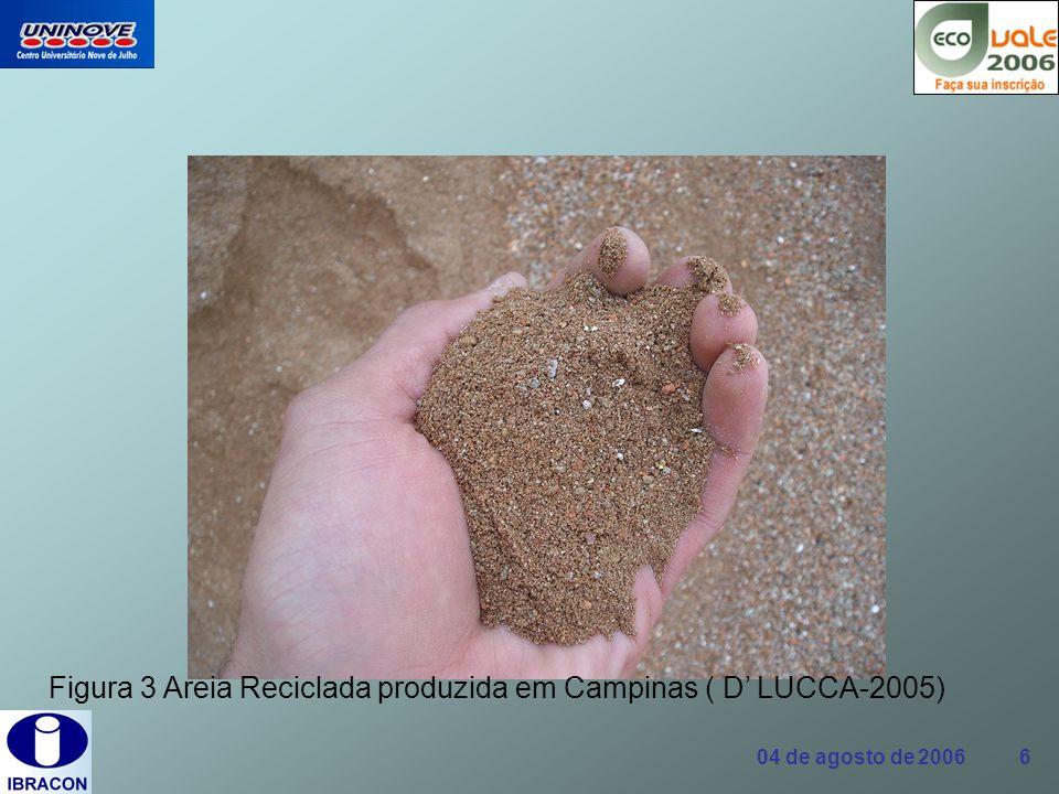 Figura 3 Areia Reciclada produzida em Campinas ( D' LUCCA-2005)