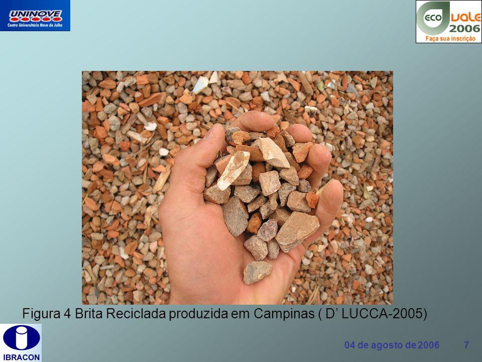 Figura 4 Brita Reciclada produzida em Campinas ( D' LUCCA-2005)