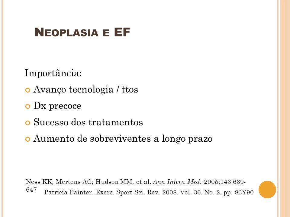 Neoplasia e EF Importância: Avanço tecnologia / ttos Dx precoce