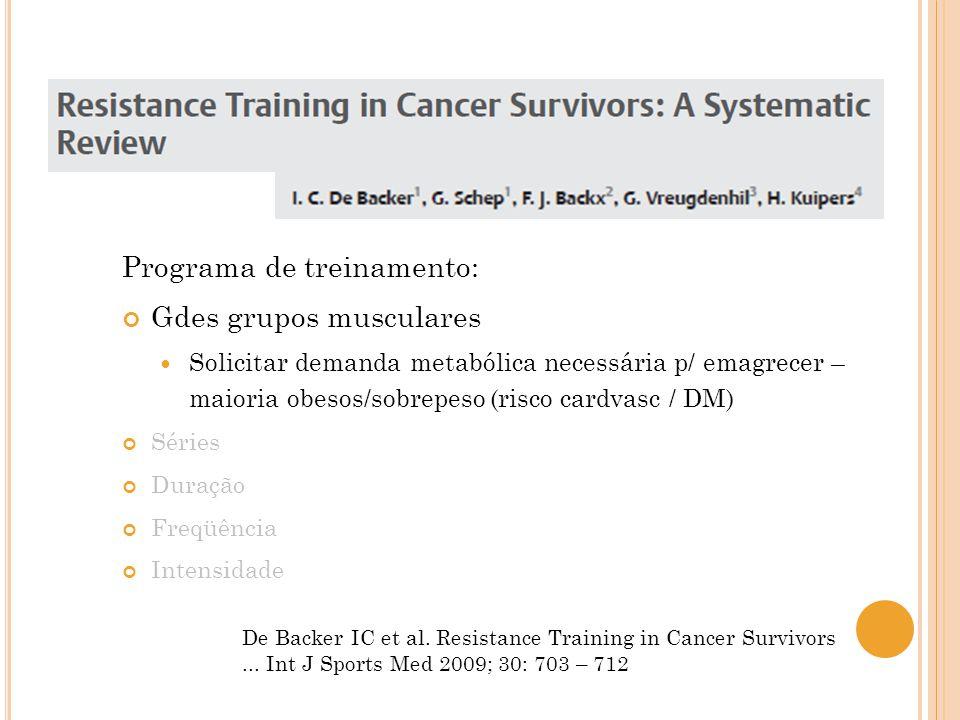 Programa de treinamento: Gdes grupos musculares