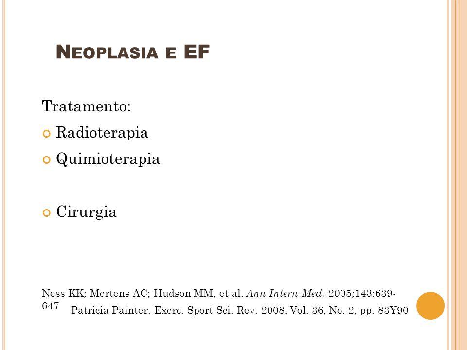 Neoplasia e EF Tratamento: Radioterapia Quimioterapia Cirurgia