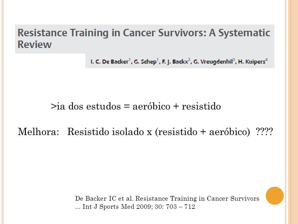 >ia dos estudos = aeróbico + resistido Melhora: Resistido isolado x (resistido + aeróbico)