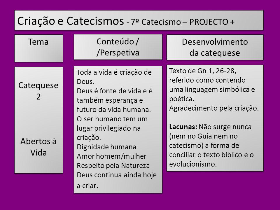 Criação e Catecismos - 7º Catecismo – PROJECTO +